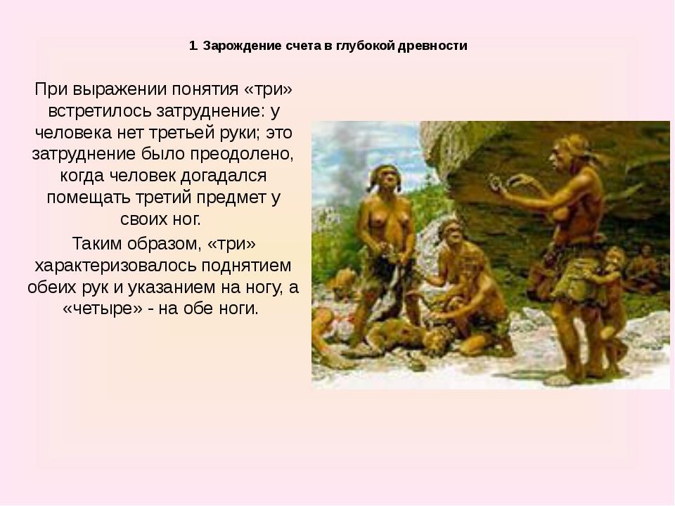 1. Зарождение счета в глубокой древности При выражении понятия «три» встрет...