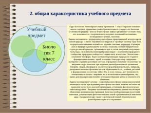 2. общая характеристика учебного предмета Курс «Биология. Разнообразие живых