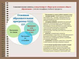1.пояснительная записка, конкретизирует общие цели основного общего образова