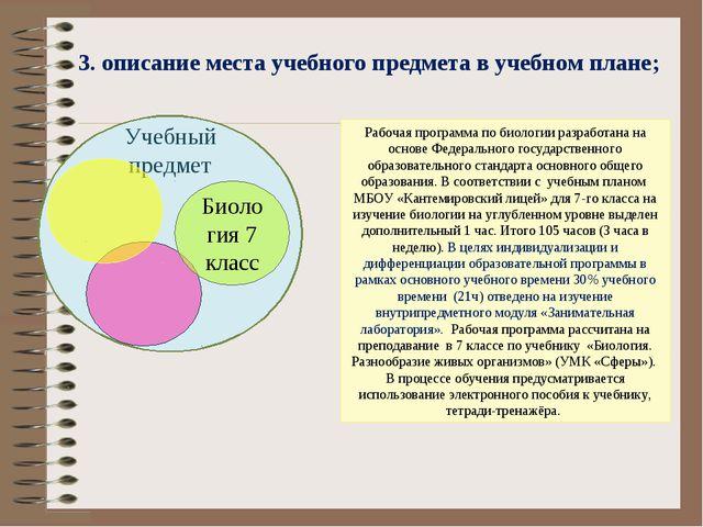 3. описание места учебного предмета в учебном плане; Рабочая программа по би...