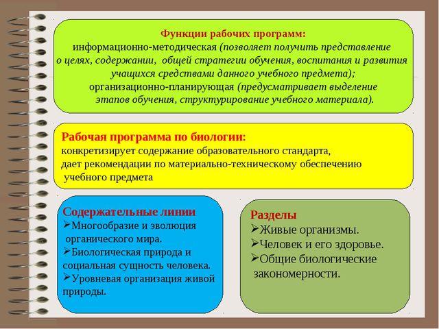 Функции рабочих программ: информационно-методическая (позволяет получить пред...
