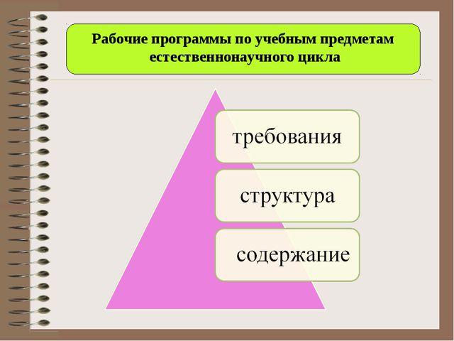 Рабочие программы по учебным предметам естественнонаучного цикла