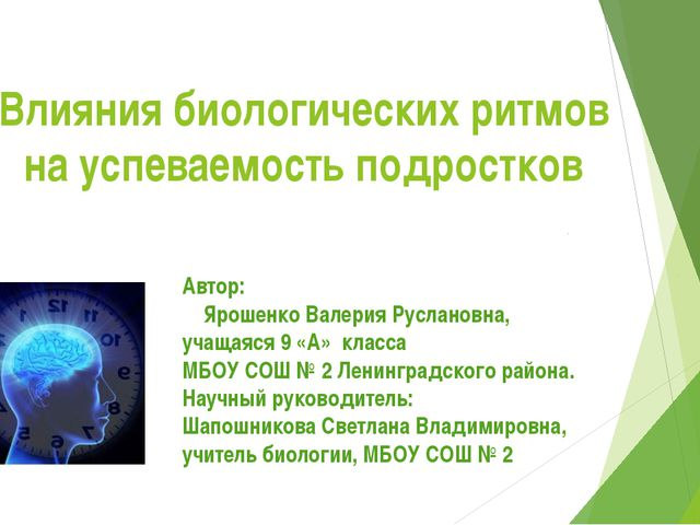 Влияния биологических ритмов на успеваемость подростков Автор: Ярошенко Валер...