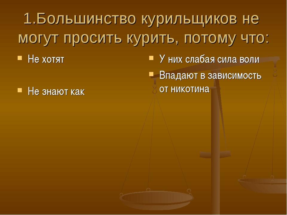 1.Большинство курильщиков не могут просить курить, потому что: Не хотят Не зн...