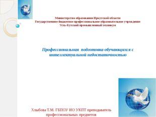 Министерство образования Иркутской области Государственное бюджетное професс