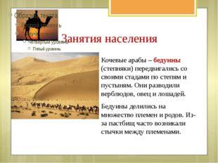 Занятия населения Кочевые арабы – бедуины (степняки) передвигались со своими