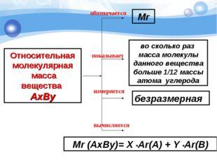 Относительная молекулярная масса вещества AxBy показывает обозначается измеря
