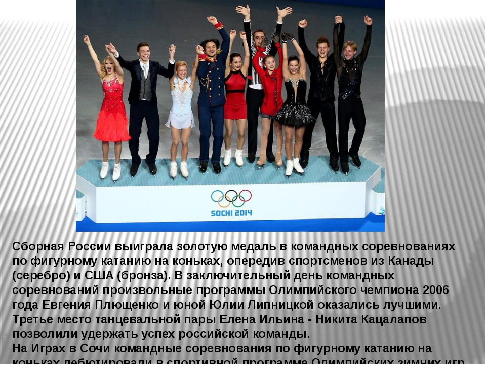Сборная России выиграла золотую медаль в командных соревнованиях по фигурному...