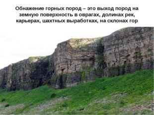 Обнажение горных пород – это выход пород на земную поверхность в оврагах, дол