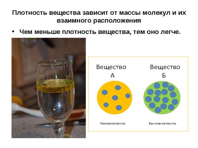 Плотность вещества зависит от массы молекул и их взаимного расположения Чем м...
