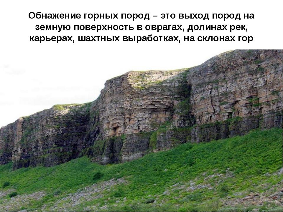 Обнажение горных пород – это выход пород на земную поверхность в оврагах, дол...