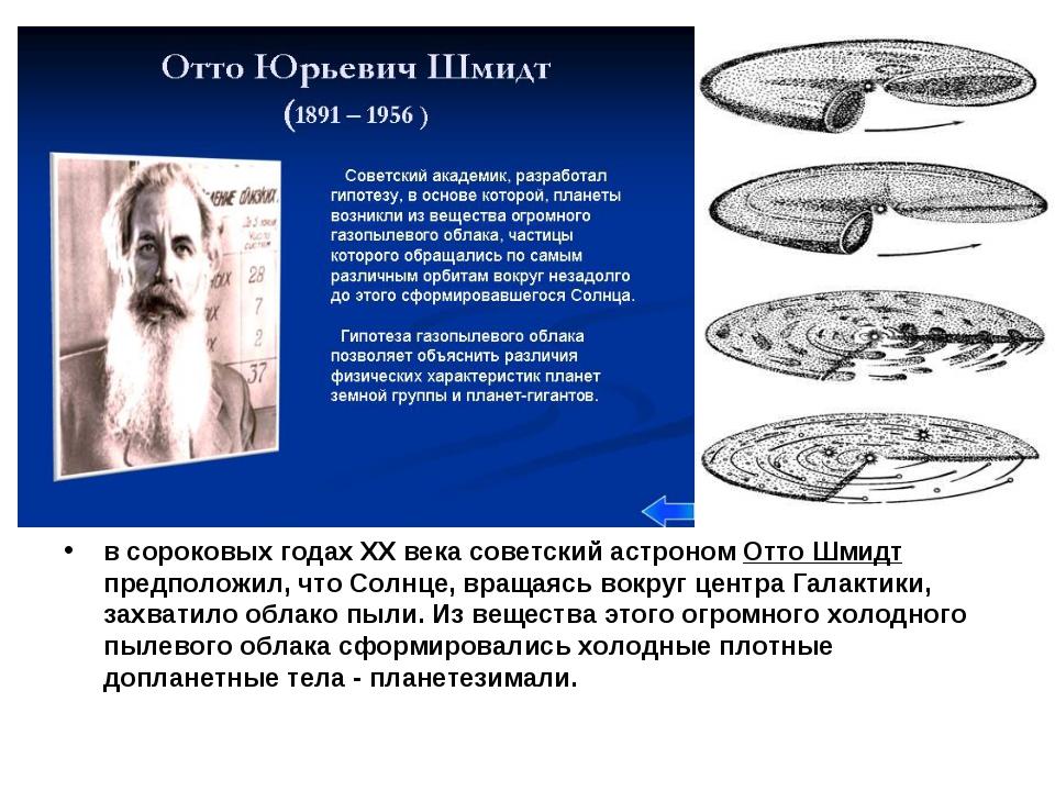 в сороковых годах ХХ века советский астроном Отто Шмидт предположил, что Сол...