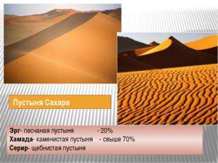 Пустыня Сахара Эрг- песчаная пустыня - 20% Хамада- каменистая пустыня - свыш