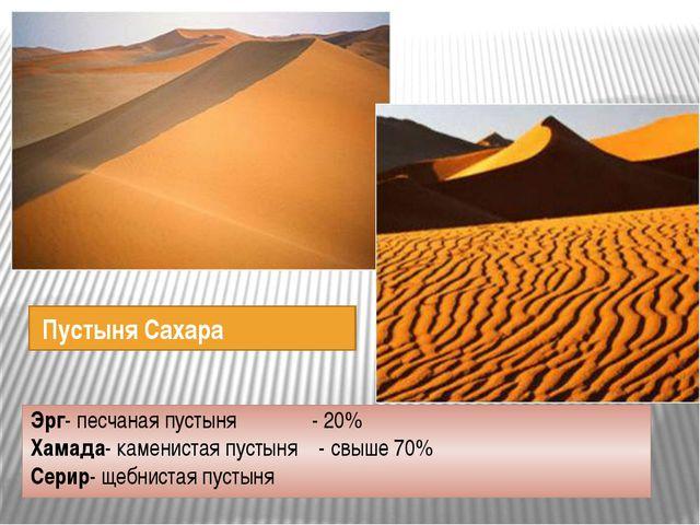Пустыня Сахара Эрг- песчаная пустыня - 20% Хамада- каменистая пустыня - свыш...