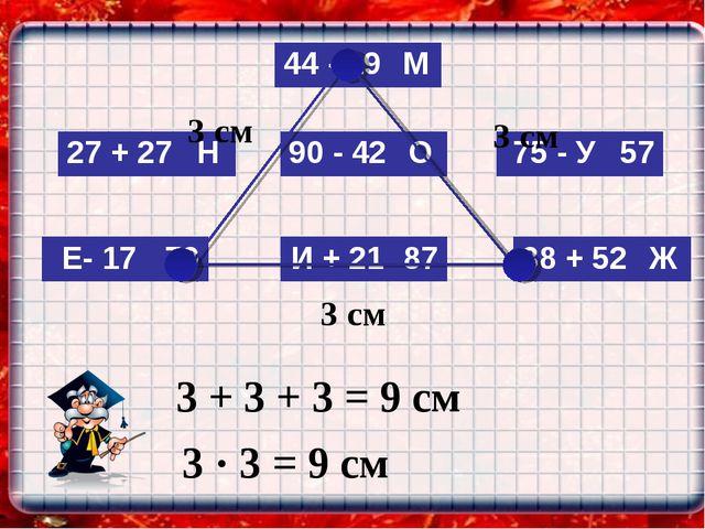 3 см 3 см 3 см 3 + 3 + 3 = 9 см 3 · 3 = 9 см 27 + 27Н 44 - 19М 75 - У57 И...