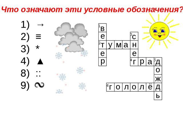 → ≡ * 4) ▲ :: 6 в е т е р у м а н с е г р а д о ж д ь г о л о л ё Что означаю...