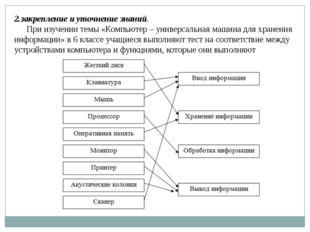 2.закрепление и уточнение знаний. При изучении темы «Компьютер – универсальна