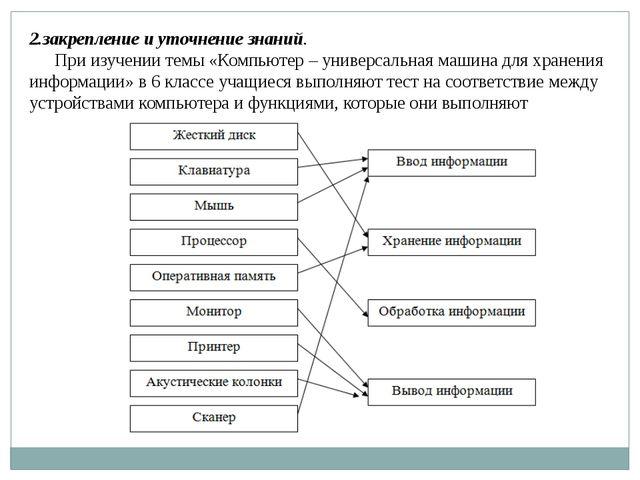 2.закрепление и уточнение знаний. При изучении темы «Компьютер – универсальна...