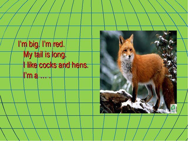 I'm big. I'm red. My tail is long. I like cocks and hens. I'm a … .