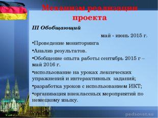 III Обобщающий май - июнь 2015 г. Проведение мониторинга Анализ результатов.