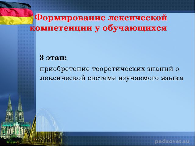 Формирование лексической компетенции у обучающихся 3 этап: приобретение теоре...