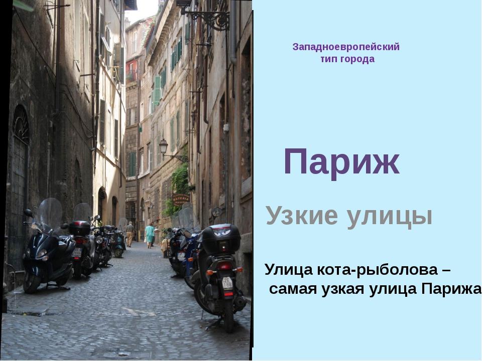Западноевропейский тип города Узкие улицы Париж Улица кота-рыболова – самая у...