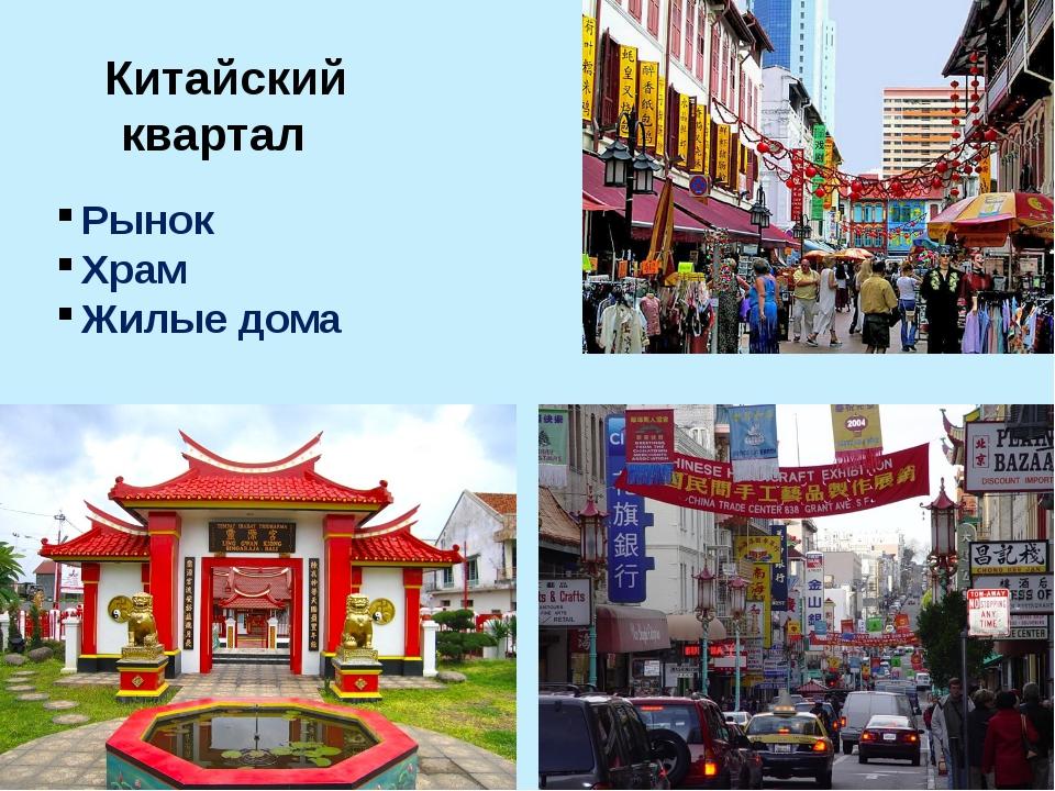 Китайский квартал Рынок Храм Жилые дома