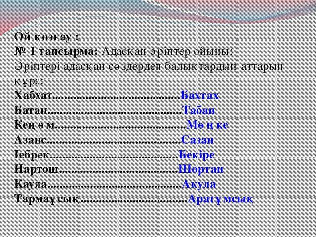 Ой қозғау : № 1 тапсырма: Адасқан әріптер ойыны: Әріптері адасқан сөздерден б...