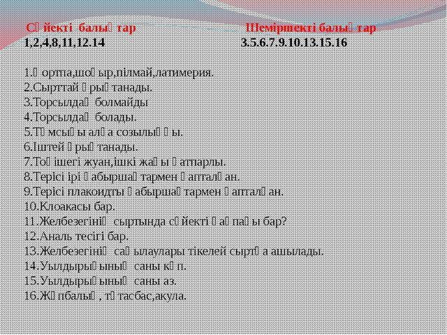Сүйекті балықтар Шеміршекті балықтар 1,2,4,8,11,12.14  3.5.6.7.9.10.13.15.1...