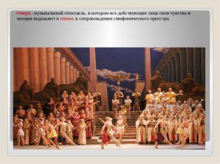 Опера – музыкальный спектакль, в котором все действующие лица свои чувства и