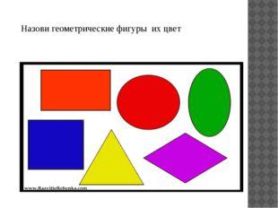 Назови геометрические фигуры их цвет