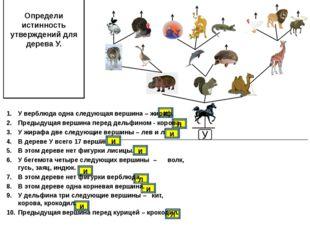 Определи истинность утверждений для дерева У. и и л и л и и л У верблюда одна