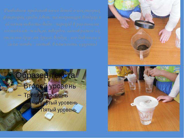 Развиваем представление детей о некоторых факторах среды (свет, температура...
