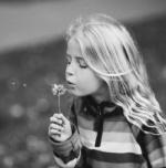 Фото Девочка сдувает пушинки одуванчика