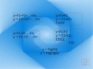 Функция её производная у=C у´=0 у=sinx у´=cosx у=cosx у´=–sinx у=tgx у=