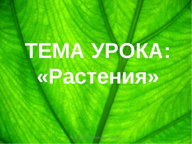 ТЕМА УРОКА: «Растения» Козлова Ольга Ивановна г. Вольск Козлова Ольга Иванов...