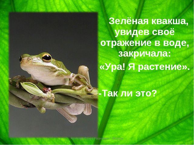 Зелёная квакша, увидев своё отражение в воде, закричала: «Ура! Я растение»....