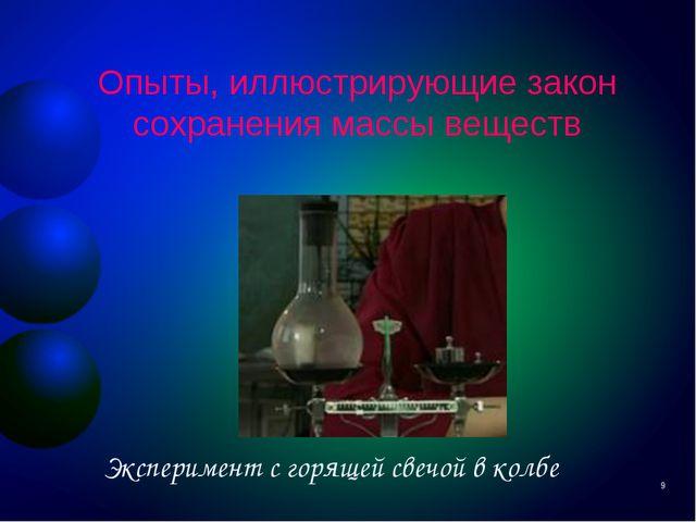Опыты, иллюстрирующие закон сохранения массы веществ Эксперимент с горящей св...