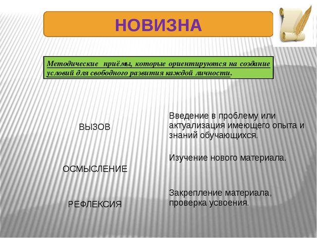 НОВИЗНА Методические приёмы, которые ориентируются на создание условий для св...