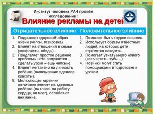 Влияние рекламы на детей Институт человека РАН провёл исследование : Отрицате