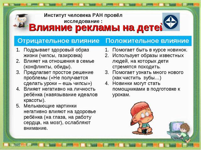 Влияние рекламы на детей Институт человека РАН провёл исследование : Отрицате...
