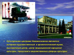 Культурными центрами Новомосковска являются: историко-художественный и археол