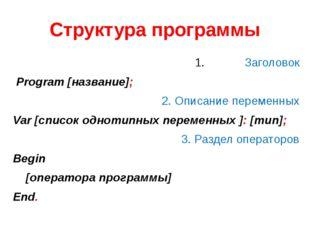 Заголовок Program [название]; 2. Описание переменных Var [список однотипных п
