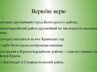Верю/не верю Белогорск крупнейший город Белогорского района. Красногвардейски