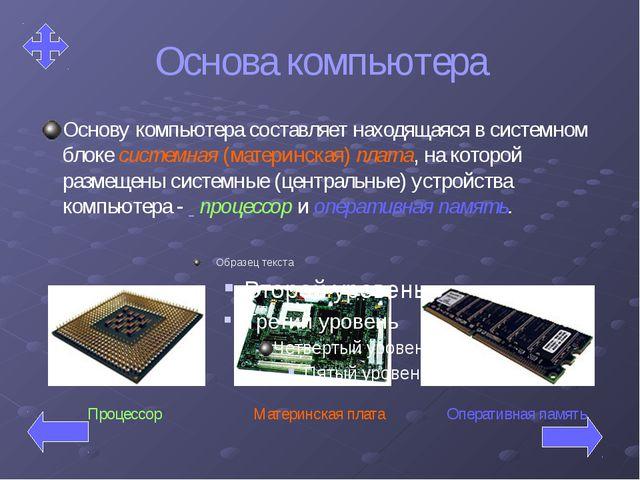 Основа компьютера Основу компьютера составляет находящаяся в системном блоке...