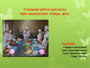 Словарная работа (диктанты) через видеоролики ,слайды, фото. ЗАДАНИЕ: Учащиес