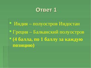 Ответ 1 Индия – полуостров Индостан Греция – Балканский полуостров (4 балла,