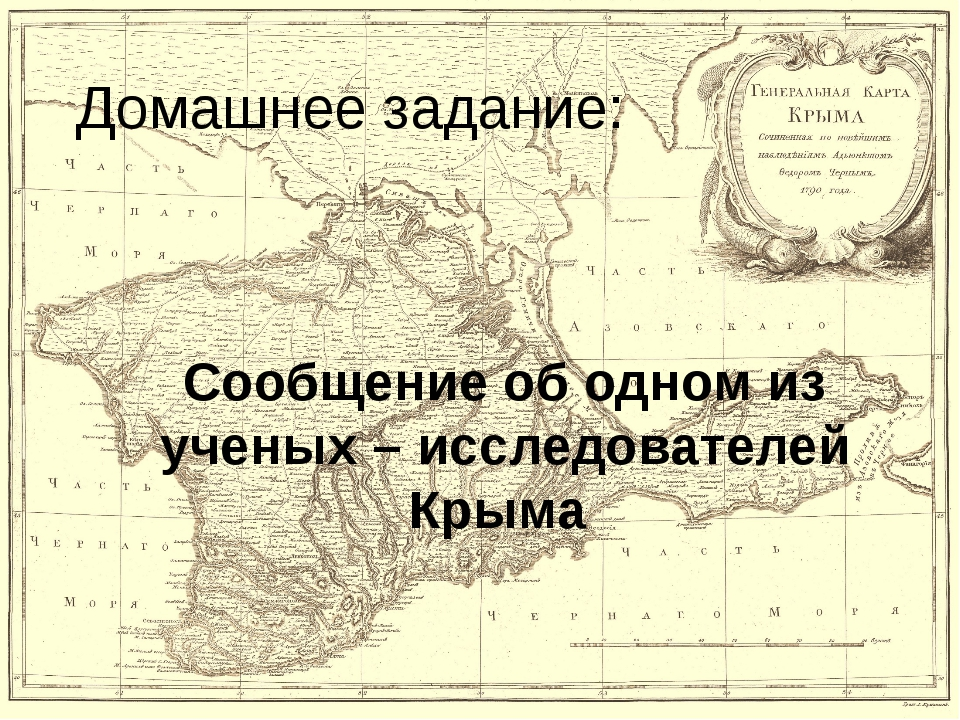 Домашнее задание: Сообщение об одном из ученых – исследователей Крыма