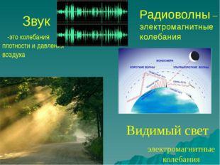 Звук -это колебания плотности и давления воздуха электромагнитные колебания В