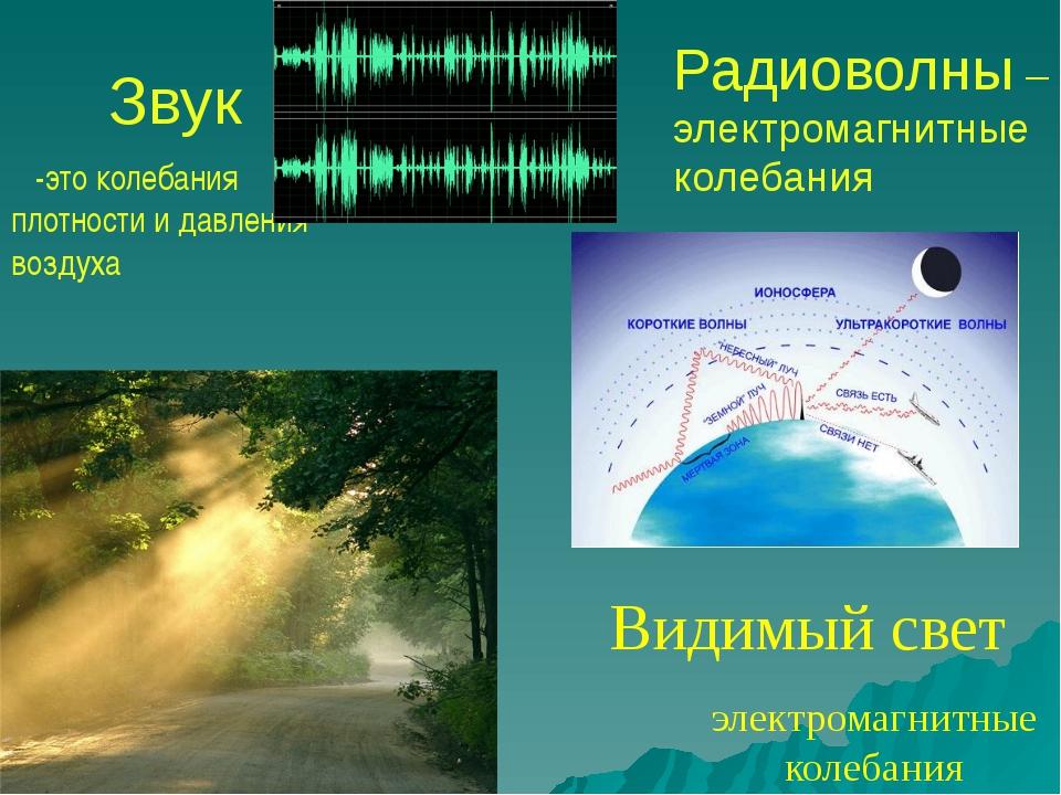 Звук -это колебания плотности и давления воздуха электромагнитные колебания В...